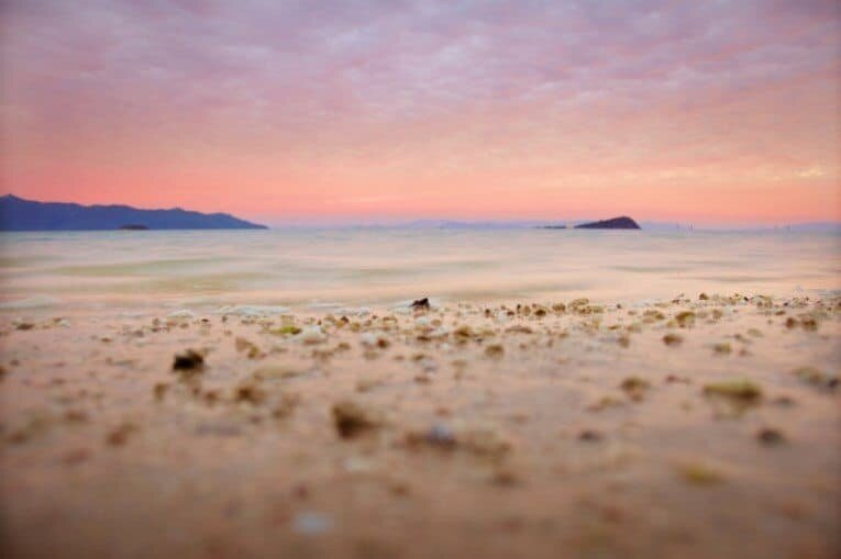 A shallow Depth of Field with the foreground blurred to draw attention toward the horizon.
