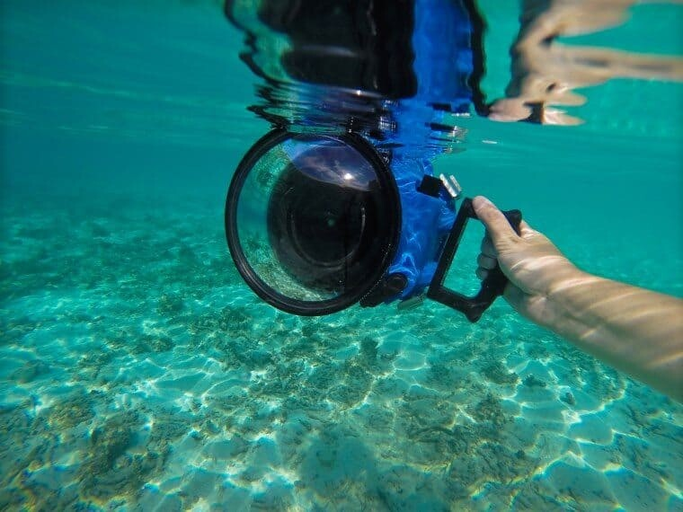 Nikon D800 + 14-24mm lens safely tucked inside an Aquatech Underwater Housing.