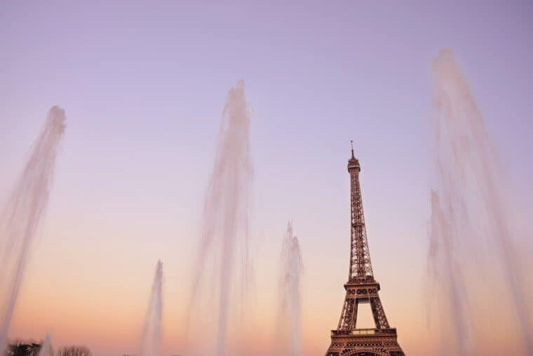 The Eiffel Tower framed by the Warsaw Fountains.