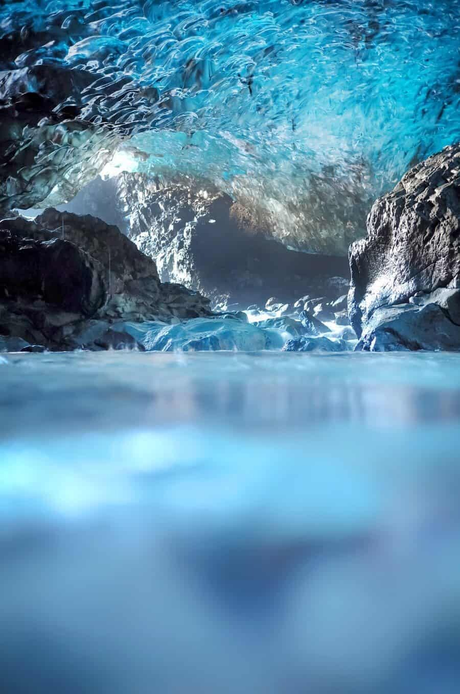 Waterfall Ice Cave, Vatnajokull Glacier, Iceland.