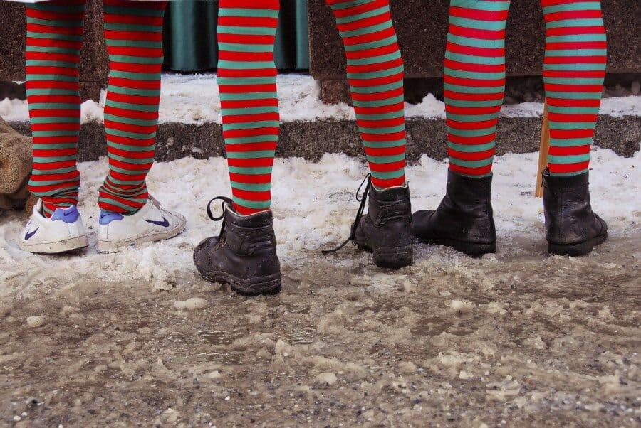 Samnaun, Switzerland: Finding details that can help tell the story is a creative way to take a portrait. This shot was captured during the annual Santa Claus festival and these guys were dressed as a team of elves.