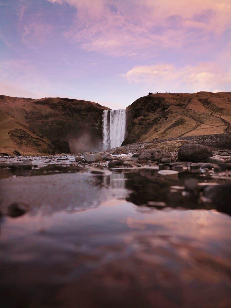 Skógafoss Waterfall Iceland at Sunset