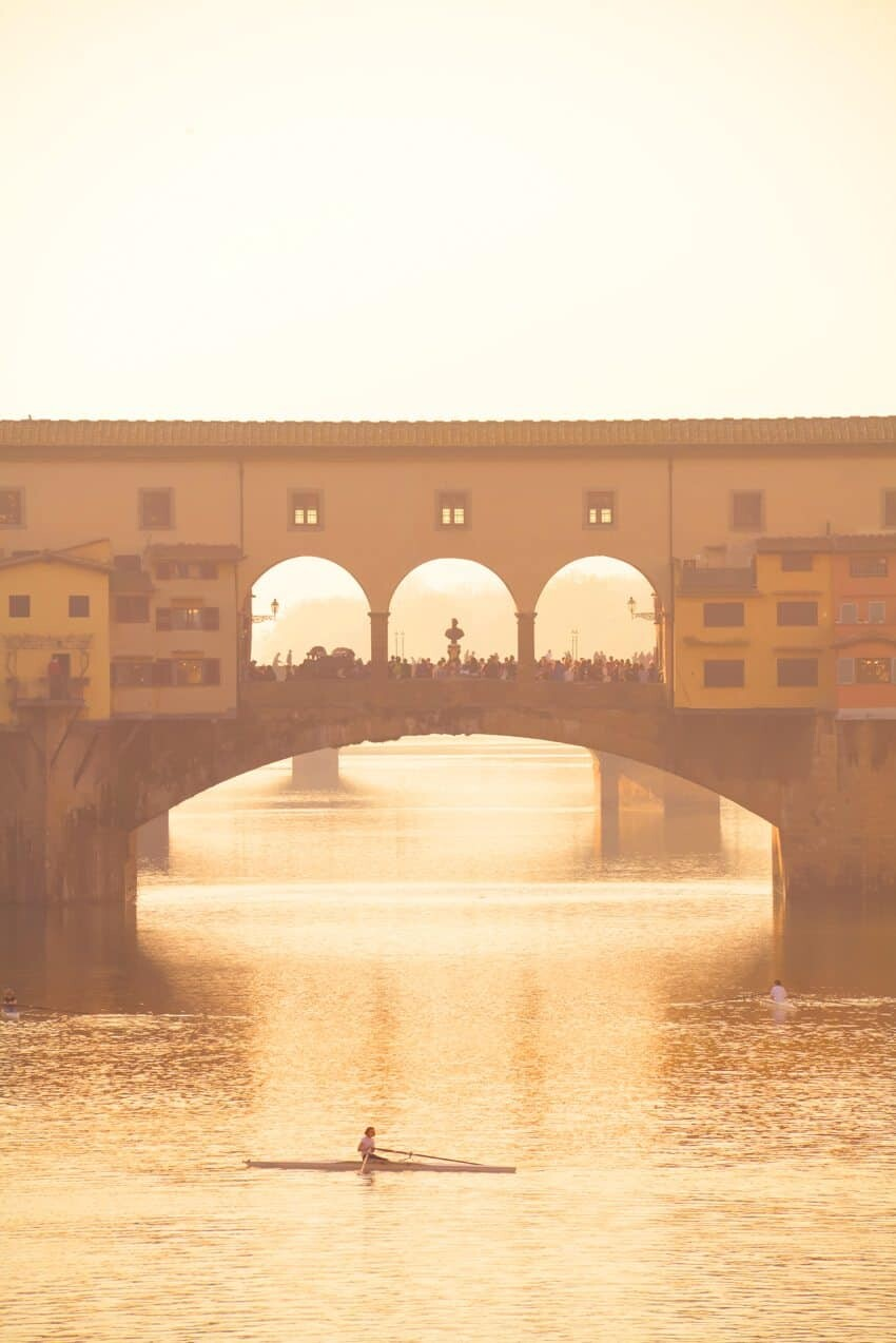 Dusk over the Ponte Vecchio, Florence.