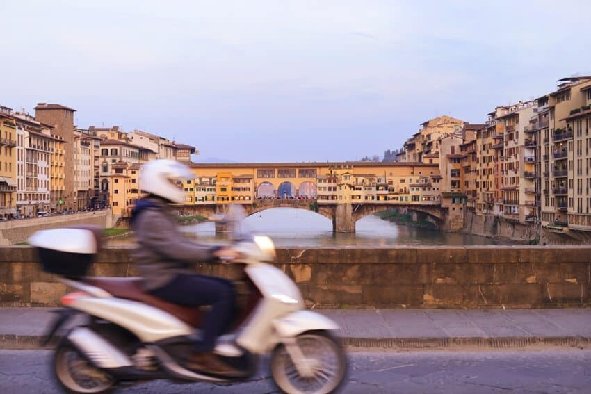On Ponte Santa Trinita looking toward the infamous Ponte Vecchio...a great spot to sit and watch dusk appear.