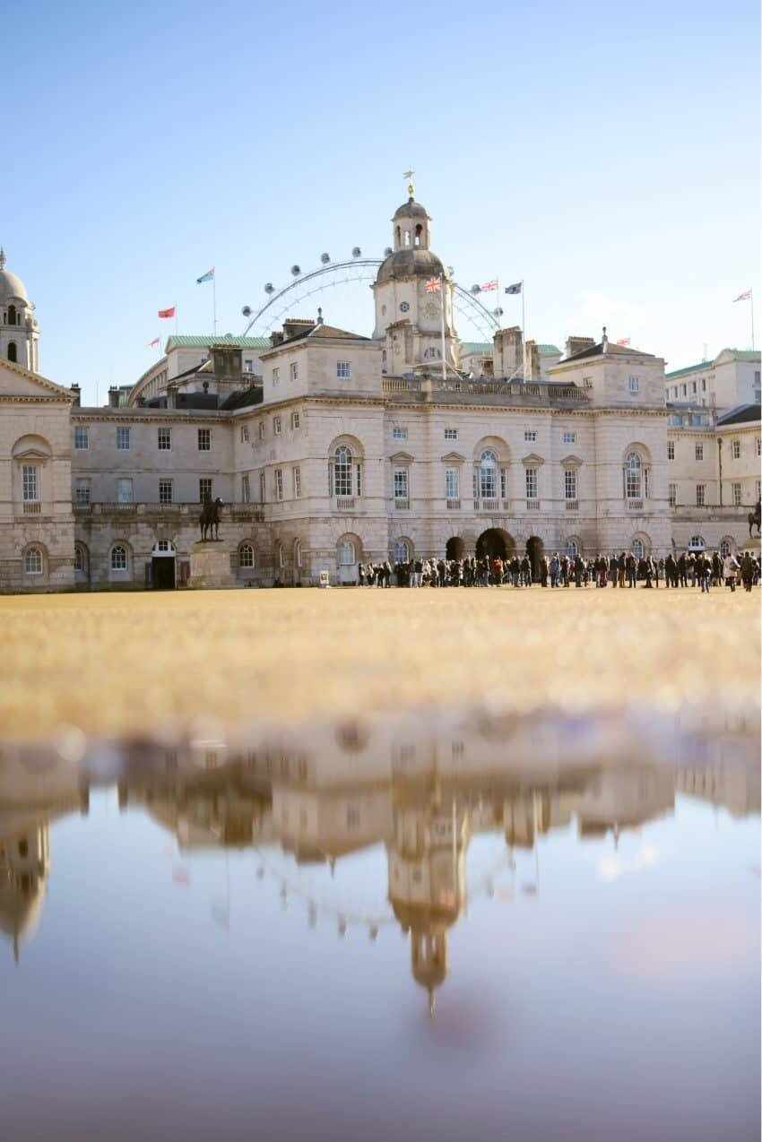 Horse Guards Parade and the National Calvary Museum reflecting with the London Eye peeping from behind.