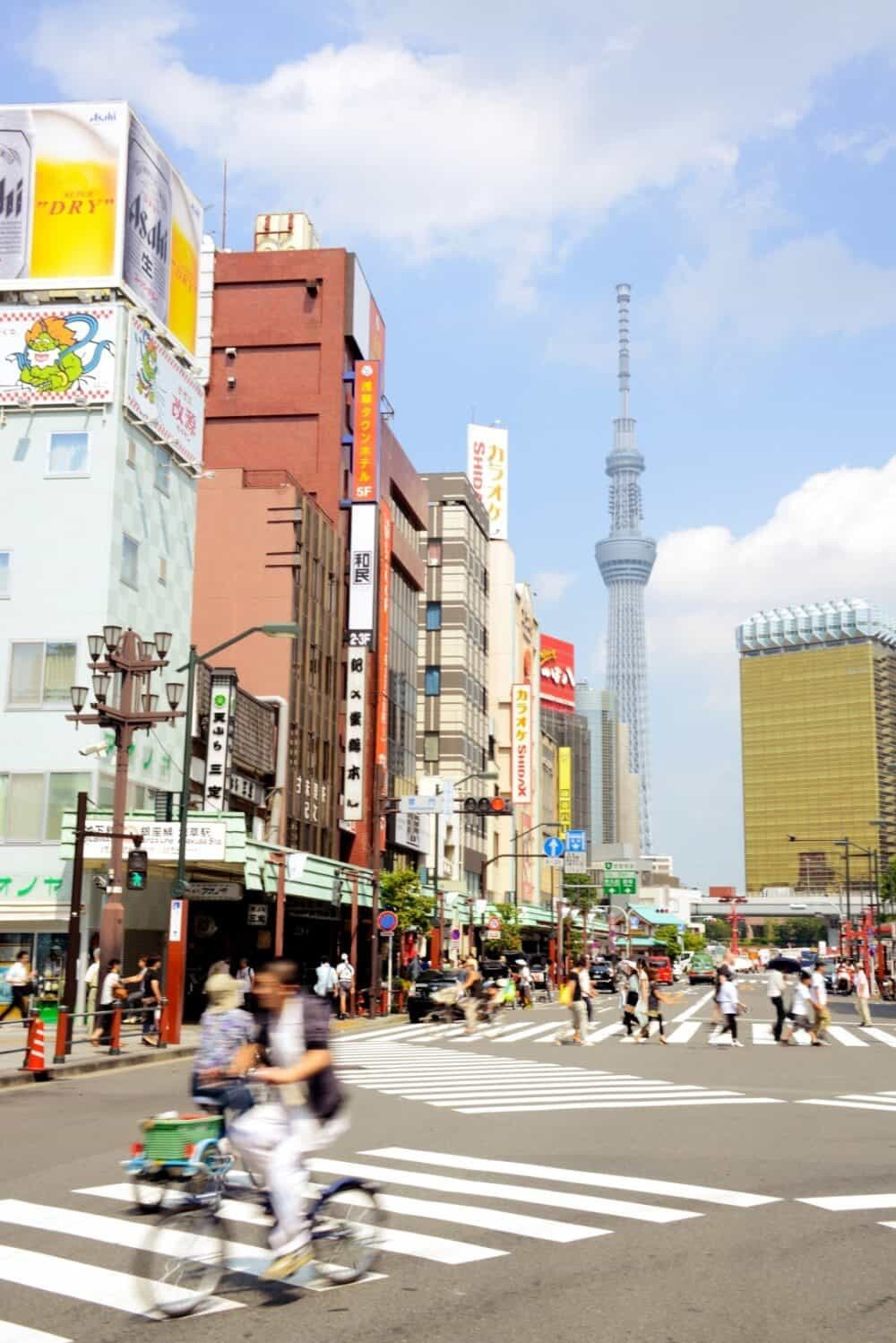 Downtown near Asakusa with the giant Tokyo Skytree looking like a sci-fi movie backdrop.