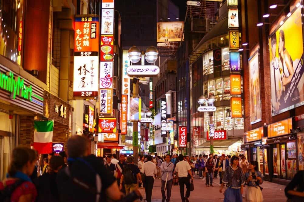 The neon signs of the Shinjuku District.