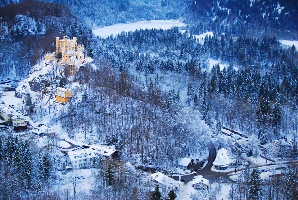 Hohenschwangau Castle and the village of Hohenschwangau.