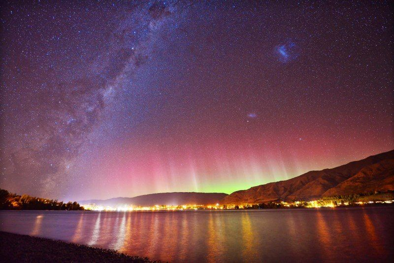 Shooting Stars And Aurora Australis In Wanaka New Zealand