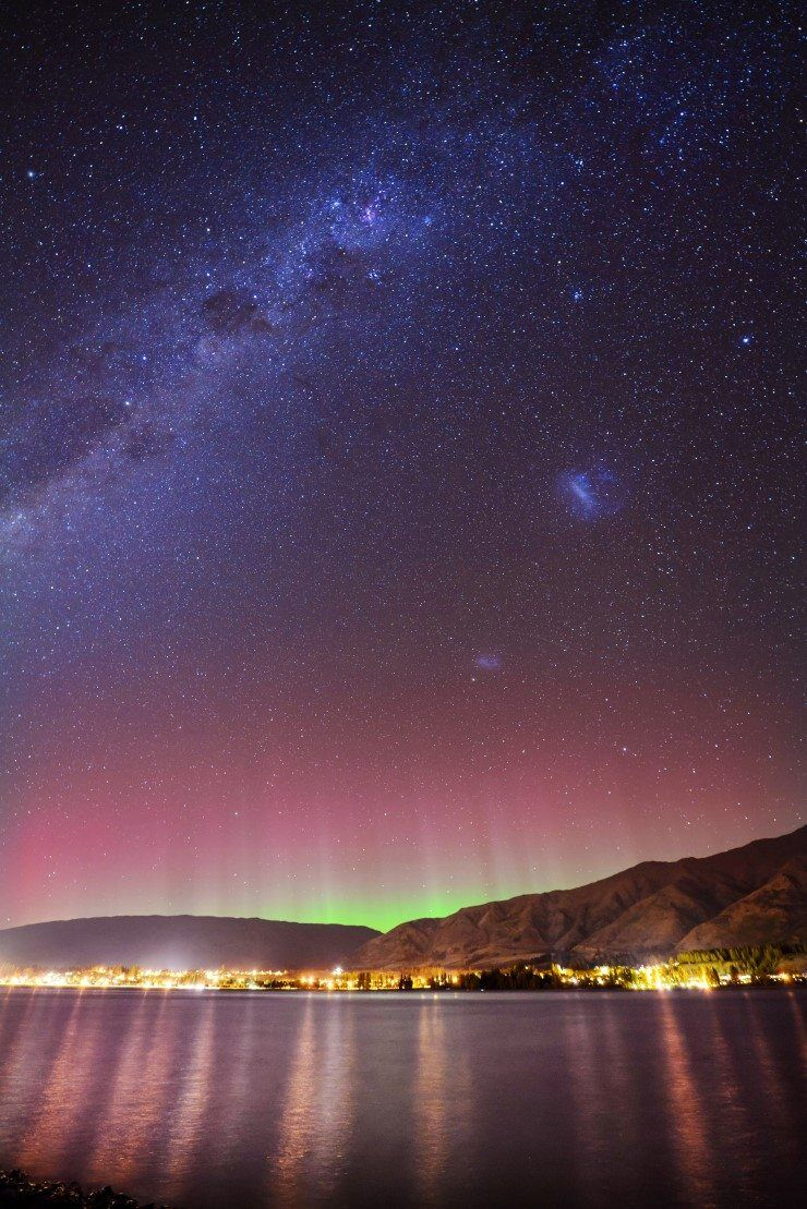 The Aurora Australis and Milky Way shining bright over Lake Wanaka.
