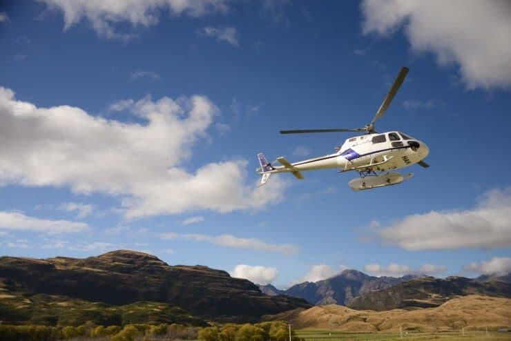 A helicopter over Aspiring National Park