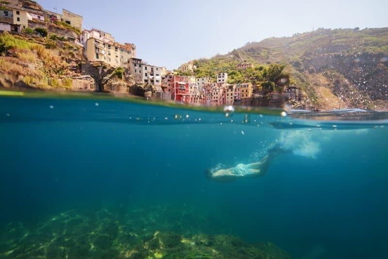 Underwater in Riomaggiore, Cinque Terre, Italy