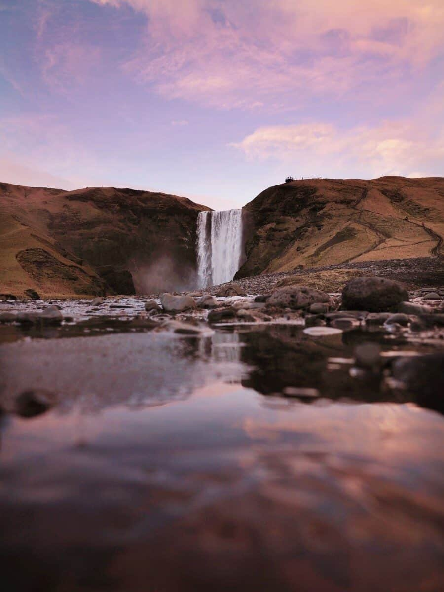 Skógafoss Waterfall Iceland at Sunset