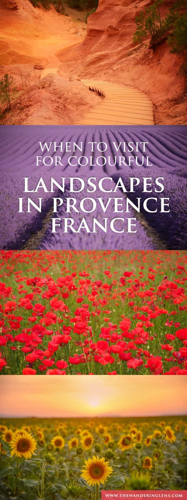 Provence France, When to visit to photograph the lavender fields of Provence and also the calanques, poppy fields and sunflowers.