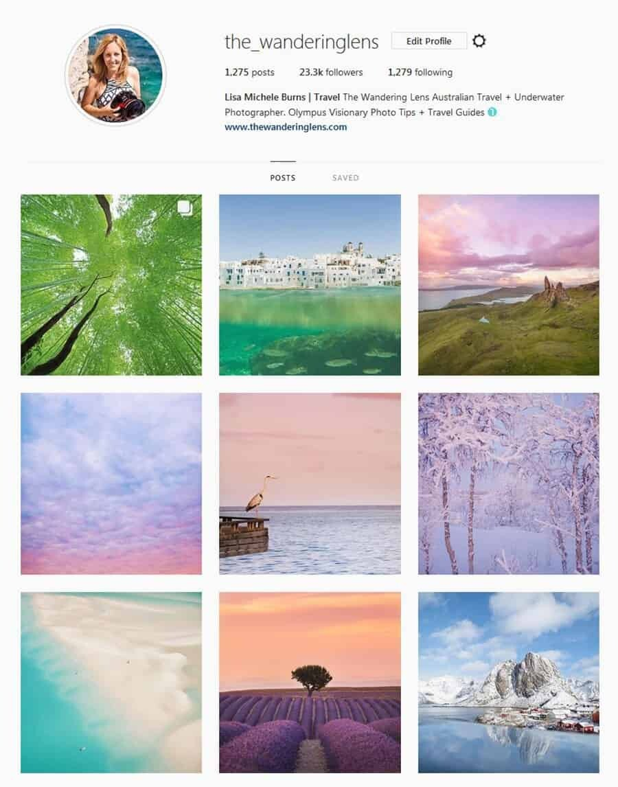 The Wandering Lens Instagram - Social media for photographers