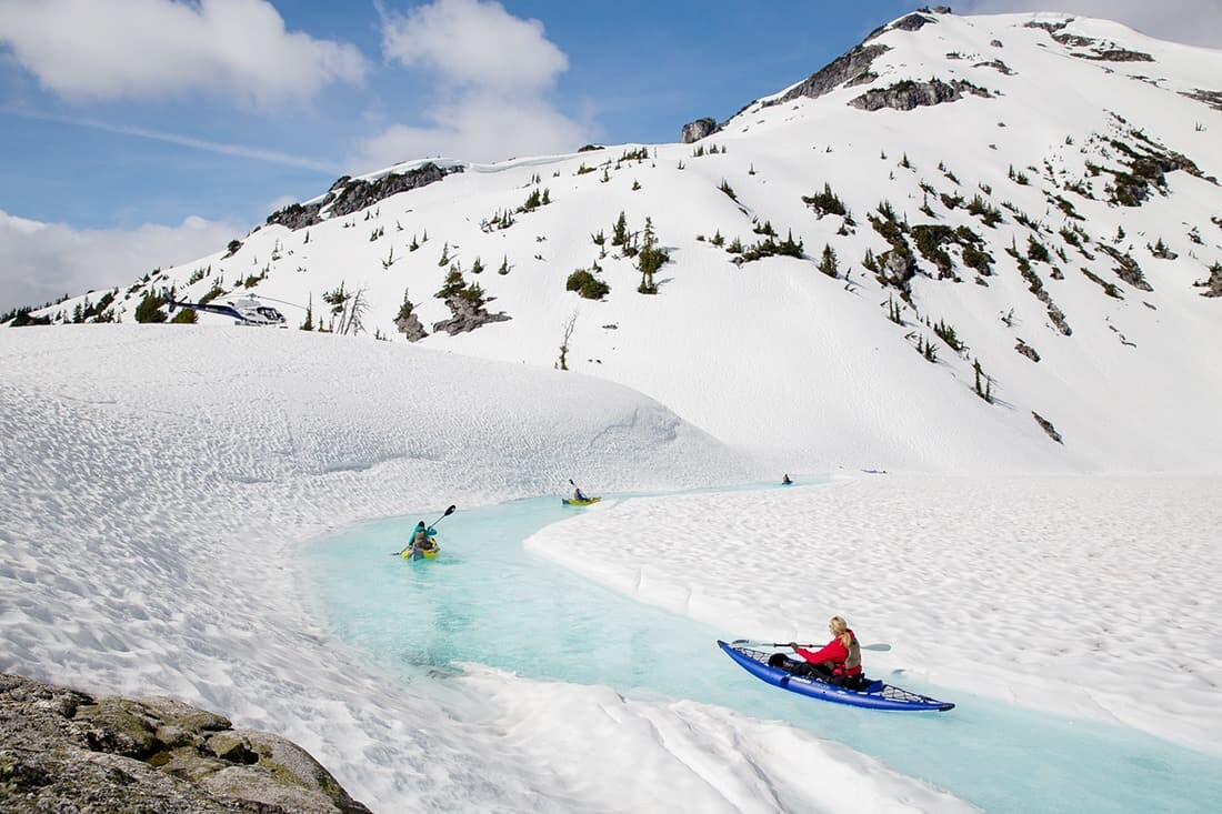 Canada adventure kayaking blue glacial lake streams in British Columbia