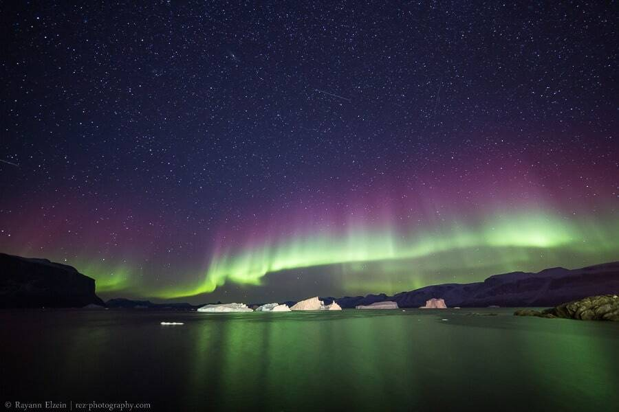 Northern lights and icebergs in Uummannaq, Greenland