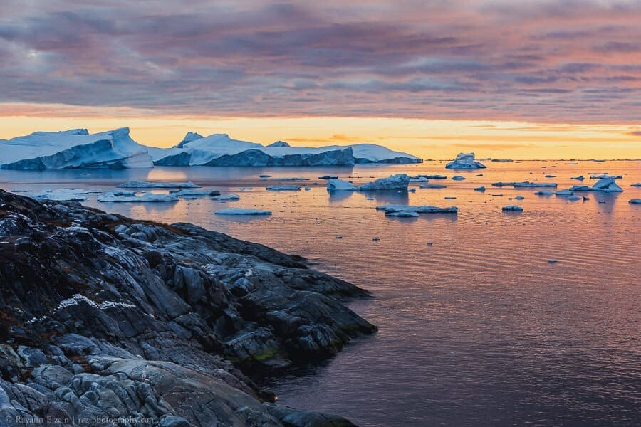 Soft evening light at the Unesco Ilulissat Icefjord in Greenland