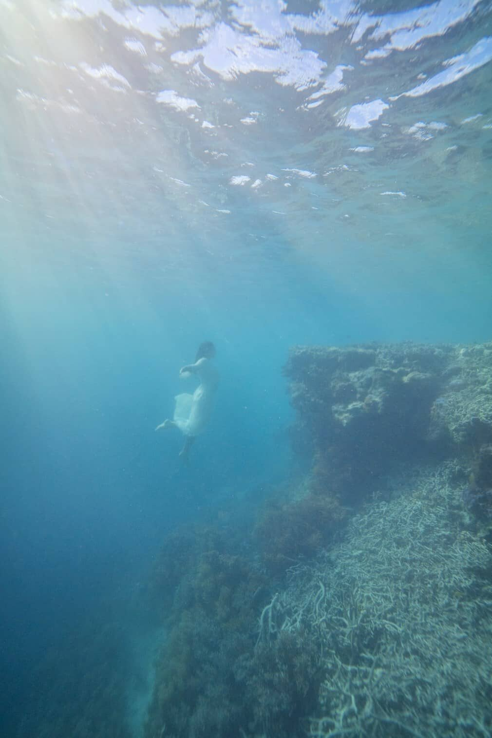 Underwater Photography Great Barrier Reef, model in white dress dancing underwater, photography by Lisa Michele Burns