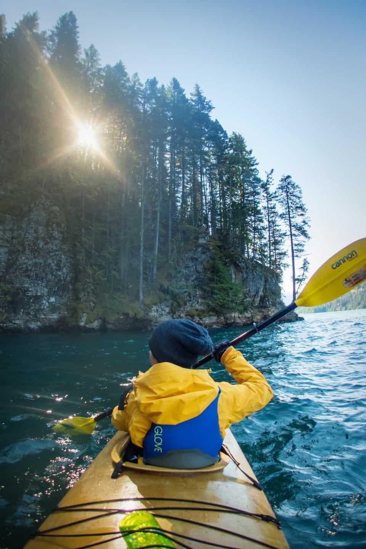 Kayaking on Lake Revelstoke, Canada