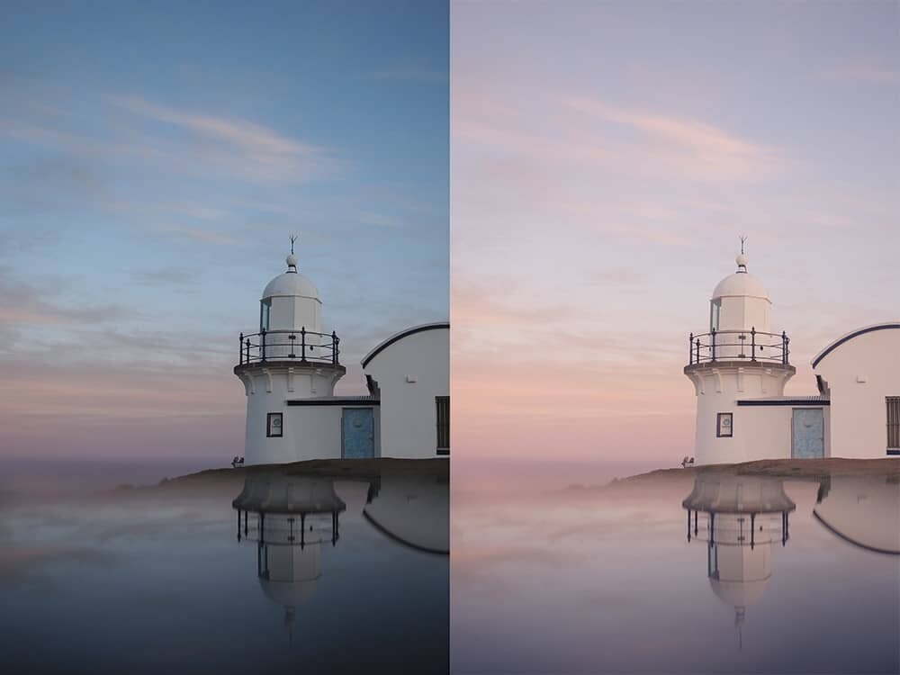 Pastel preset before and after